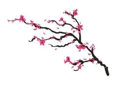 "Cherry Blossom Branch Tattoo, Set of 2 Waterproof Temporary Body Art Stickers, Size - 5 ¾"" x 3 ¾"""