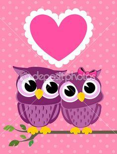 amor bonito cartão de corujas — Ilustração de Stock #26684213