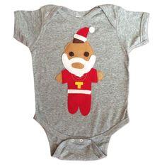 Santa Mr. T Bodysuit - Handmade Felt Appliqued Onesie ... Price: $29.99 ... Where to Buy: AlwaysFits.com