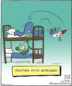 Cartoon, bunk, cartoon, comic, debunk, gnome, kick, leprechaun, pun