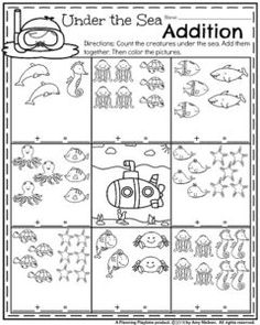 Kindergarten Addition Worksheets for Summer - Under the Sea addition. Kindergarten Addition Worksheets, Summer Worksheets, Kindergarten Math Activities, Kindergarten Worksheets, Summer School Activities, Sea Activities, Creative Activities, Ocean Unit, Math Addition