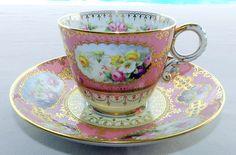 Superb Tea Cup Saucer Signed J Worrall Spode Copeland's England China Pink WOW | eBay