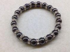 Handmade HEMATITE Gemstone 8mm Bead and Diamanté BRACELET Chakra Healing