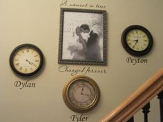 such a great idea: clocks with the time of each child's birth, captioned with their name.