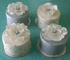 Blue, White, Silver Mini Cakes