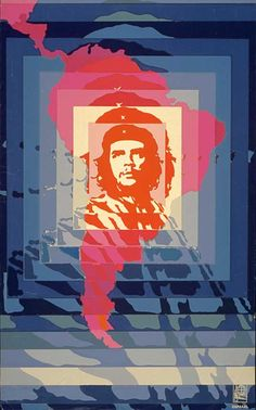 This inspiring poster shows Che's face against a background of concentric squares morphing into a map of South America. Helena Serrano designed it to mark the Day of the Heroic Guerrilla in 1968, just one year after Che had been executed.
