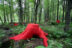 The Sacred Realm of the Forest Elf,FINLAND.Deep in the ancient woods of Finland, Lea Turto covered tree stumps in red felt as a way to examine the spiritual meaning of the forest and her own deep rooted Finnish culture. Outdoor Sculpture, Outdoor Art, Deep Ecology, Sacred Groves, Forest Elf, Textile Sculpture, Environmental Art, Abstract Landscape, Landscape Architecture