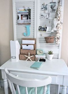 Small nautical-inspired desk space - Cute with the shutters in place of a cork board