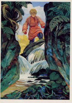 """Из набора открыток """"Сказы П.Бажова"""" Художник В.Назарук 1983 П. Бажов. «Медной горы хозяйка»"""