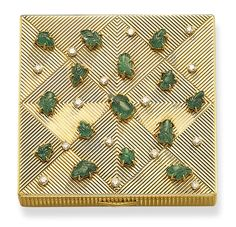 A RETRO EMERALD, GOLD AND DIAMOND POWDER COMPACT, BY CARTIER  Of square outline, the fluted gold geometric motifs enhanced on the lid by carved emerald leaves to the diamond collet accents, opening to reveal a mirror, circa 1940