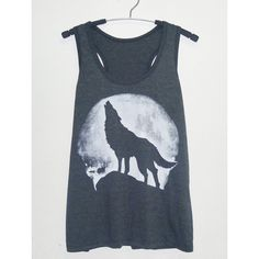 Wolf tank top Dark grey size S/M/L/XL white and black shirt/ men women... ($13) ❤ liked on Polyvore featuring tops, shirts, sleeveless shirts, black and white tank, thin shirt, dark grey shirt and black and white tops
