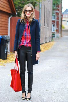 Penfield flannel shirt, Zara coat (old), Theory leather leggings, Dolce Vita heels (old but similar), Karen Walker sunglasses, Cuyana bag (c...