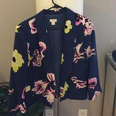 J.Crew floral blazer Navy blazer with floral print! Gently worn, in great condition! J. Crew Jackets & Coats Blazers