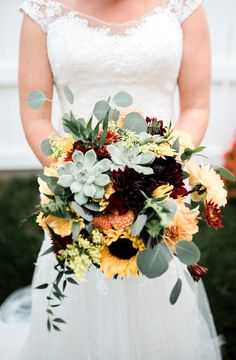 The Bride s Bouquet Dahlias Mums Sunflowers and Succulents for focals Solidago as a filler and Eucalyptus Italian Ruscus and Ferns for greens Sunflower Bouquets, Fall Bouquets, Fall Wedding Bouquets, Fall Wedding Flowers, Yellow Wedding, Bride Bouquets, Bridal Flowers, Wedding Colors, Sunflower Wedding Flowers