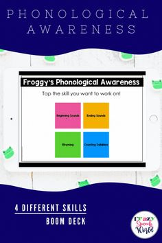 This Boom Deck is perfect for working on early phonological awareness skills with a fun frog theme! This deck includes four different phonological awareness activities: Beginning Sound Identification, Ending Sound Identification, Rhyming Identification, & Syllable Identification