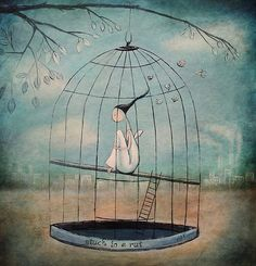 a caged bird can't fly.
