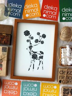 Love Deer Print Navy Rose Illustration Art Print Animal Children decor, Kids Room, Wedding Birthday Anniversary Gifts. $18.00, via Etsy.