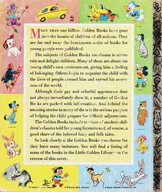 back cover design of Little Golden Books in the 1950's and 60's.  I liked the little characters on the back better than I liked the stories.