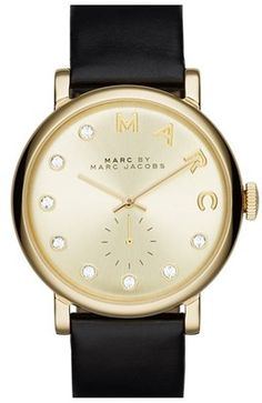 Women's Marc Jacobs 'Baker' Crystal Index Leather Strap Watch 36Mm #watches #womens