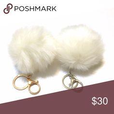 Faux Fur Pom Pom Keychain Bag Charm in Soft White Adorable fuzzy super soft pom pom keychain or bag charm in soft white. Cruelty free! Choose gold or silver tone hardware :)  ❌ Sorry, no trades. fairlygirly Accessories