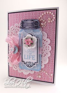"""""""Spice of Life"""" vintage jar stamped card using JustRite Baking Antique Tags One with coordinating Antique Tags One die by Sheri Holt"""
