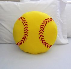 Softball Fleece Pillow, Yellow or White, Baseball Pillow by PatternsOfWhimsy on Etsy