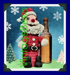 Santa CROCHET Pattern Vintage 1950s RARE Christmas Bottle Cover Hard to Find Jolly Santa Liquor Wine Mad Men Instant Download PDF Pattern Christmas Party Gift