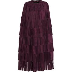 Burberry Prorsum Fringed Suede Cape as seen on Rosie Huntington-Whiteley