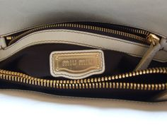MIU MIU by Prada beautiful authentic very rare vintage unique bag tote  beige leather and canvas 9ce48a3d9e3cb