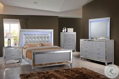 Alonza Bright White Panel Bedroom Set by Homelegance - Delivered right to your home from Coleman Furniture with no additional shipping charges. King Bedroom Sets, Queen Bedroom, New Classic Furniture, Headboard With Lights, Headboard And Footboard, Silver Bedroom, Homemakers Furniture, Stylish Bedroom, Modern Bedroom