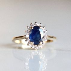 Blue sapphire engagement ring oval halo ring blue sapphire r Beautiful Wedding Rings, Wedding Rings Vintage, Vintage Engagement Rings, Engagement Jewellery, Wedding Jewelry, Wedding Bands, Blue Sapphire Rings, Sapphire Diamond, Sapphire Stone