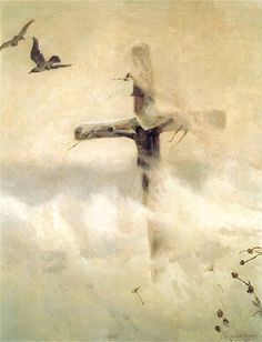 "polishpaintersonly: """"Cross in a blizzard"" by Józef Chełmoński oil on canvas National Museum in Warsaw "" Oil Painting Pictures, Old Paintings, Black Fedora, Christian Symbols, Christian Art, The Cross Of Christ, Art Graphique, Fantastic Art, Awesome"