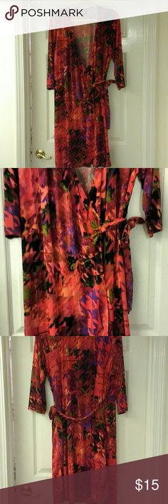 Soho Dress Red Wrap Around Dress with touches of Black, Purple, Green & Orange in fabric Soho Apparel Dresses