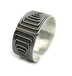 Sterling Silver Wide Band Cuff Ring with Spiral on Black #SterlingSilverCuff #SterlingSilverBoho