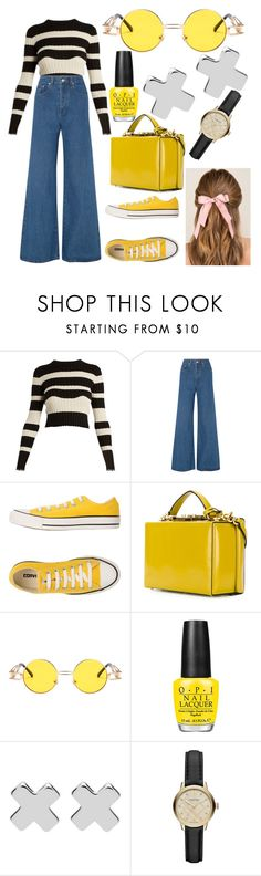 """""""80's Yellow"""" by ashleighlouise01 on Polyvore featuring Proenza Schouler, Solace, Converse, Mark Cross, OPI, Witchery, Burberry, Francesca's, yellow and 80s"""