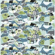 Update your home with the charming Sverieresan fabric designed by Linda Svensson Edevint for Arvidssons Textil. The fabric is made of cotton and has a detailed print inspired by Sweden with the different landscapes, cities and buildings. The fabric can be used as tablecloth, cushion covers or why not a decorative wall hanging