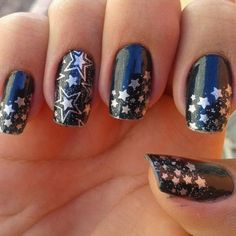 Deep Blue Star Nails This Is All Sorts Of Perfect I Love It So Clever