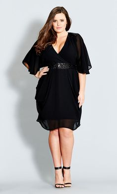 Plus Size Sequin Wrap Dress - City Chic