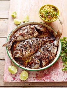 Jerk fish with a zingy corn salsa. You can also use this gorgeous jerk marinade on chicken, pork… whatever you fancy   Jamie Magazine