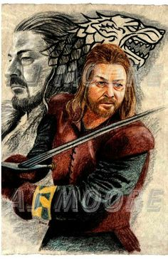 Series 1 Walking Dead Watercolors All works painted by Artist AJ Moore with watercolor. Lord Eddard Stark, Catelyn Stark, Ned Stark, Sean Bean, Game Of Thrones Art, Dire Wolf, House Stark, Great Tv Shows, Beautiful Artwork