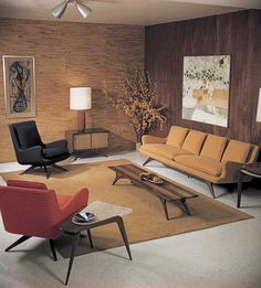 modern furniture Mid Century Living Rooms Designs Ideas - These midcentury living rooms are all the proof you need that this layout style is truly classic. Mid Century Modern Living Room, Mid Century Modern Decor, Mid Century Modern Furniture, Midcentury Modern, 1950s Living Room, Modern Chairs, Living Room Vintage, Bedroom Vintage, Modern Room