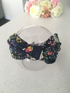 Floral jersey turban headband/ women/girls by Leenasscrunchies on Etsy
