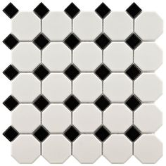 Merola Tile Metro Octagon Matte White and Black 11-1/2 in. x 11-1/2 in. x 5 mm Porcelain Mosaic Floor and Wall Tile(9.2 sq.ft./case)-FXLM2OWD - The Home Depot