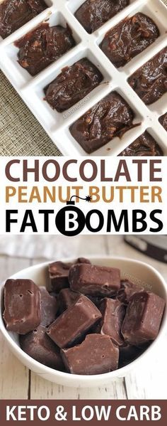 Quick and Easy Keto Chocolate Peanut Butter Fat Bombs -- low carb and sugar free. - Quick and Easy Keto Chocolate Peanut Butter Fat Bombs -- low carb and sugar free! Made with cream cheese, coconut oil, cocoa powder, peanut butter, bu. Keto Fat, Low Carb Keto, Low Carb Recipes, Diet Recipes, Coconut Oil Recipes Keto, Ketogenic Recipes, Ketogenic Cookbook, Stevia Recipes, Vegetarian Recipes