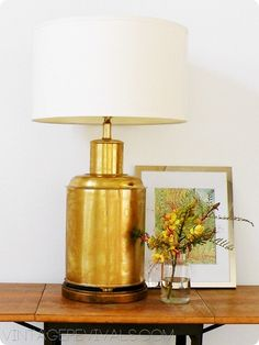 This is so easy it almost doesn't even deserve a post. Almost. Start with your not so beautiful shinny brass item. In my case it was an $8.00 thrift store lamp inspired by this. Use Grecian…
