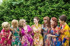 Bridesmaids Floral Dressing Gowns Colourful Happy Home Made Countryside Barn Wedding Hertfordshire http://www.binkynixon.com/