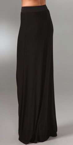 A long black skirt like this one is part of my travel outfit. I like to wear soft fabrics that feel like pjs but you still look chic.