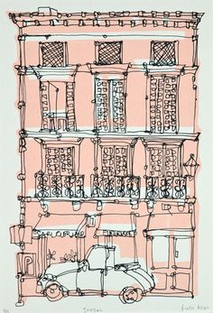 Ruth Allen Art Wallart and posters Art and Illustration Art And Illustration, Building Illustration, Illustration Techniques, Architecture Sketchbook, Architecture Artists, Architecture Panel, Little Paris, Building Art, Urban Sketching