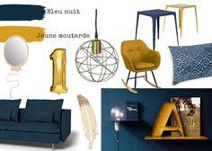 Planche Du0027ambiance / Les étoiles Brillent La Nuit. Jaune Moutarde Et Bleu  Nuit Dans La Déco Décoratrice Du0027intérieur à Rouen