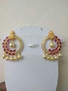 Indian Jewelry Earrings, Jewelry Design Earrings, Gold Earrings Designs, Necklace Designs, Wedding Jewelry, 1 Gram Gold Jewellery, Gold Jewellery Design, Gold Jewelry, Stylish Jewelry